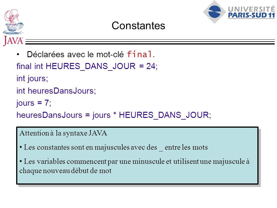 Constantes Déclarées avec le mot-clé final. final int HEURES_DANS_JOUR = 24; int jours; int heuresDansJours; jours = 7; heuresDansJours = jours * HEUR