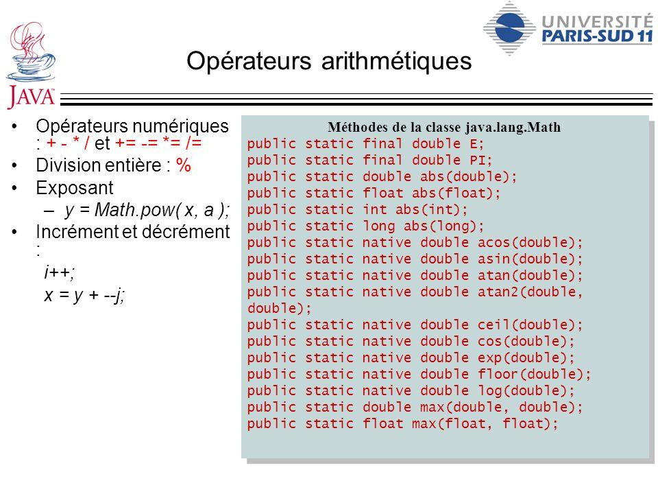 Opérateurs arithmétiques Opérateurs numériques : + - * / et += -= *= /= Division entière : % Exposant –y = Math.pow( x, a ); Incrément et décrément :