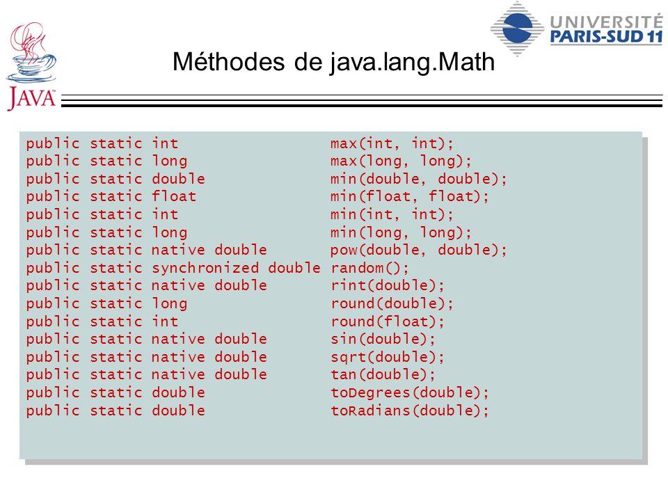 Méthodes de java.lang.Math public static int max(int, int); public static long max(long, long); public static double min(double, double); public stati