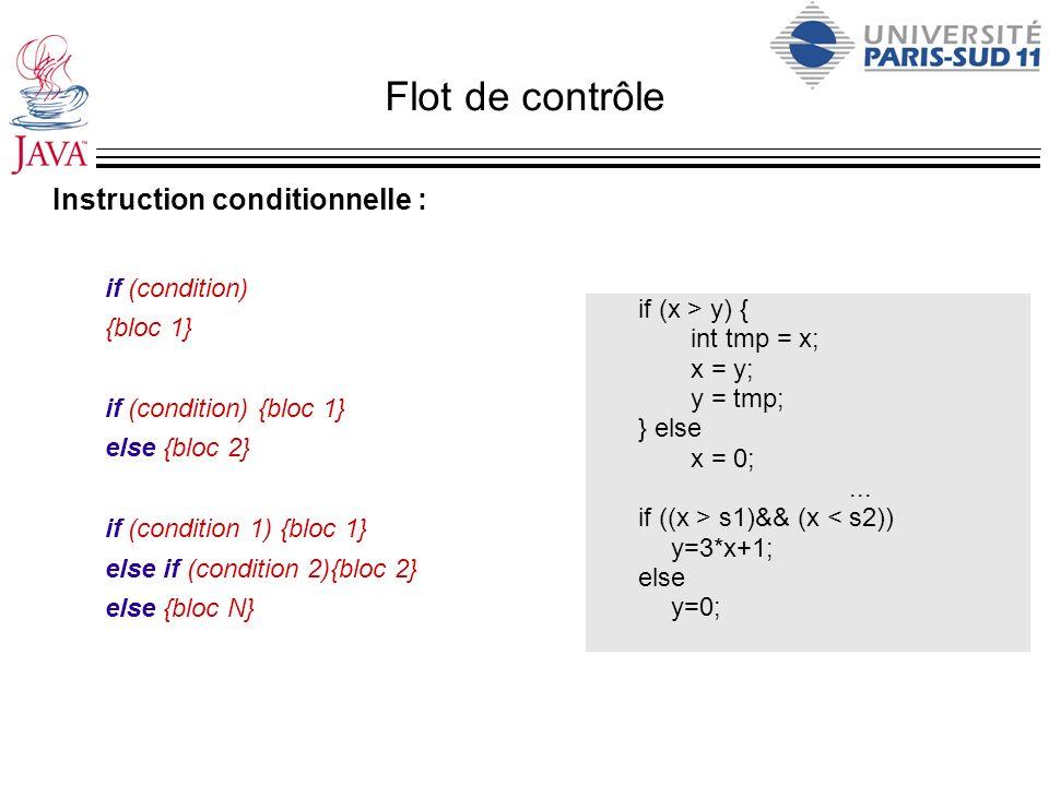 Flot de contrôle Instruction conditionnelle : if (condition) {bloc 1} if (condition) {bloc 1} else {bloc 2} if (condition 1) {bloc 1} else if (conditi