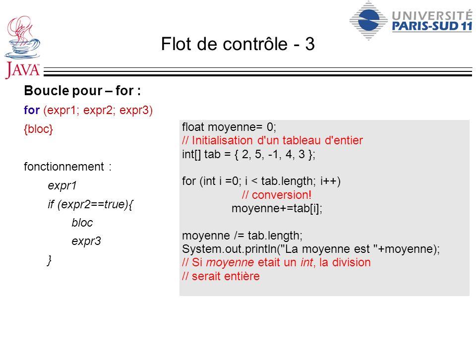 Flot de contrôle - 3 Boucle pour – for : for (expr1; expr2; expr3) {bloc} fonctionnement : expr1 if (expr2==true){ bloc expr3 } float moyenne= 0; // I