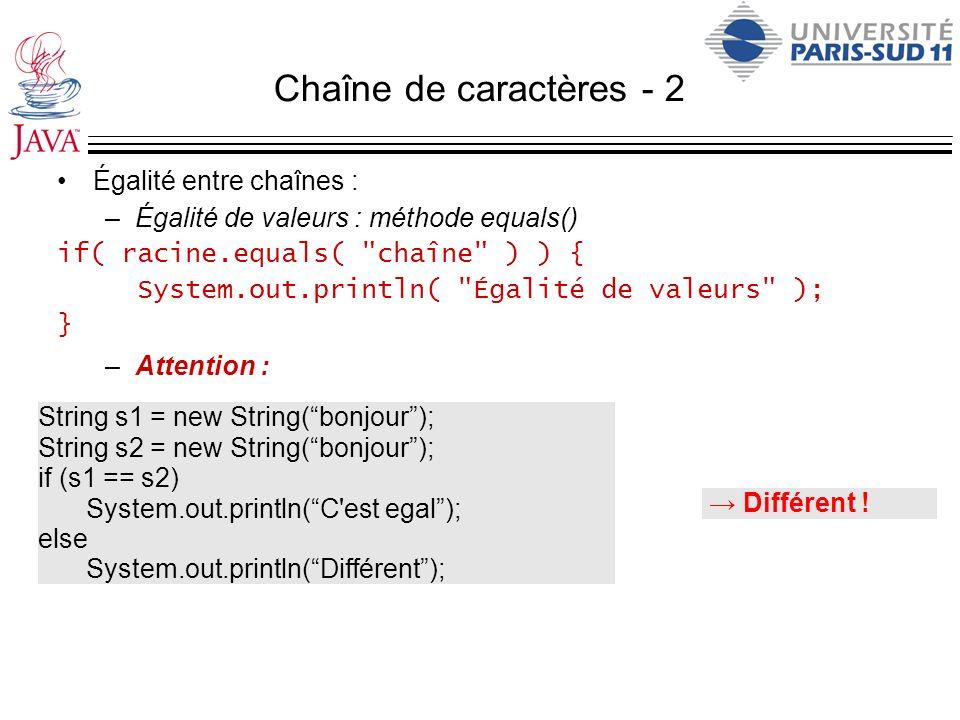 Chaîne de caractères - 2 Égalité entre chaînes : –Égalité de valeurs : méthode equals() if( racine.equals(