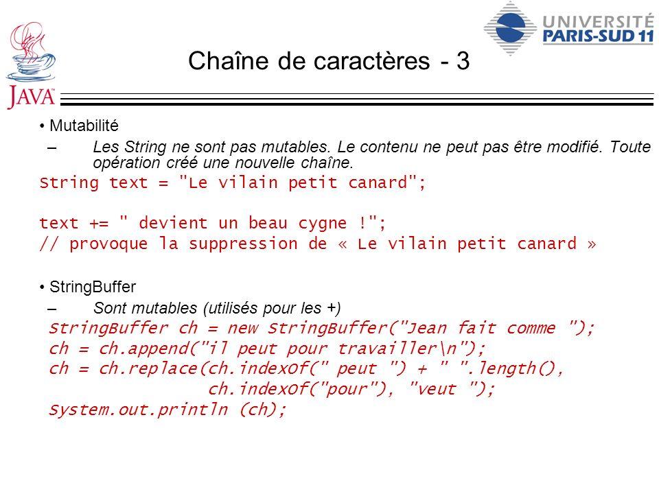 Chaîne de caractères - 3 Mutabilité –Les String ne sont pas mutables. Le contenu ne peut pas être modifié. Toute opération créé une nouvelle chaîne. S
