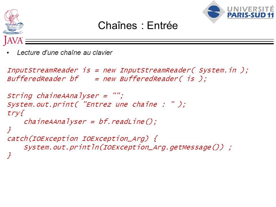 Chaînes : Entrée Lecture d'une chaîne au clavier InputStreamReader is = new InputStreamReader( System.in ); BufferedReader bf = new BufferedReader( is