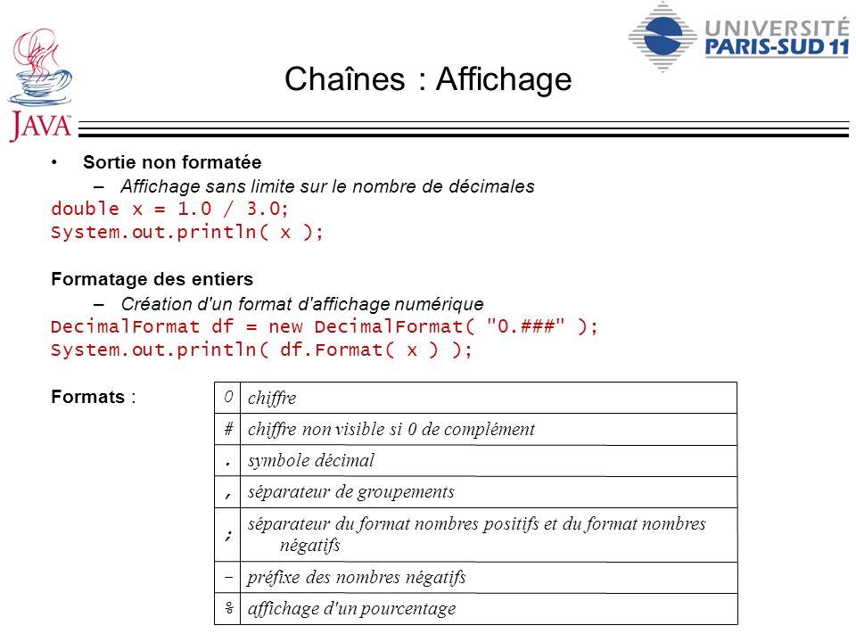 Chaînes : Affichage Sortie non formatée –Affichage sans limite sur le nombre de décimales double x = 1.0 / 3.0; System.out.println( x ); Formatage des