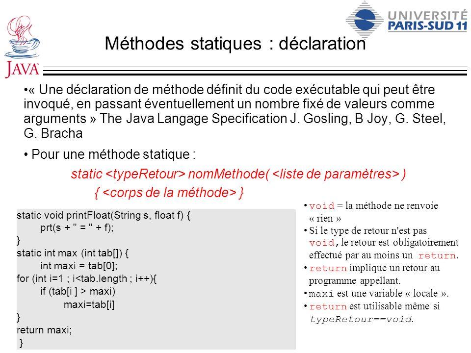 Méthodes statiques : déclaration « Une déclaration de méthode définit du code exécutable qui peut être invoqué, en passant éventuellement un nombre fi