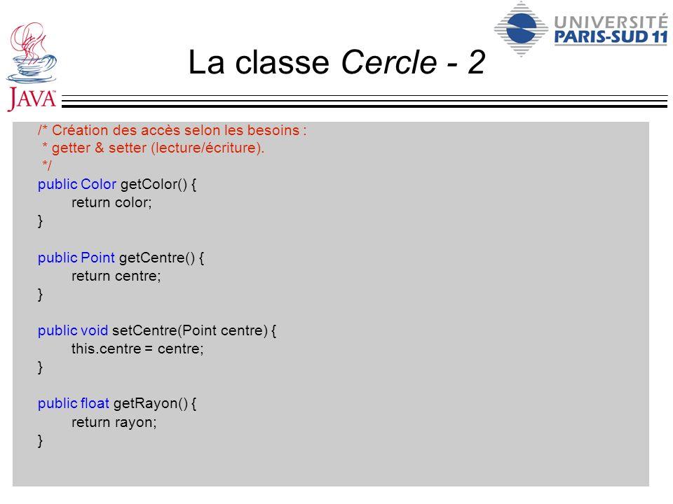La classe Cercle - 2 /* Création des accès selon les besoins : * getter & setter (lecture/écriture). */ public Color getColor() { return color; } publ