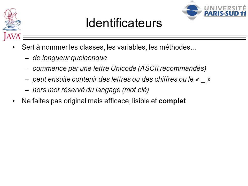 Identificateurs Sert à nommer les classes, les variables, les méthodes... –de longueur quelconque –commence par une lettre Unicode (ASCII recommandés)
