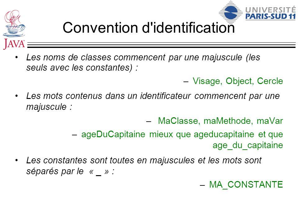 Convention d'identification Les noms de classes commencent par une majuscule (les seuls avec les constantes) : –Visage, Object, Cercle Les mots conten