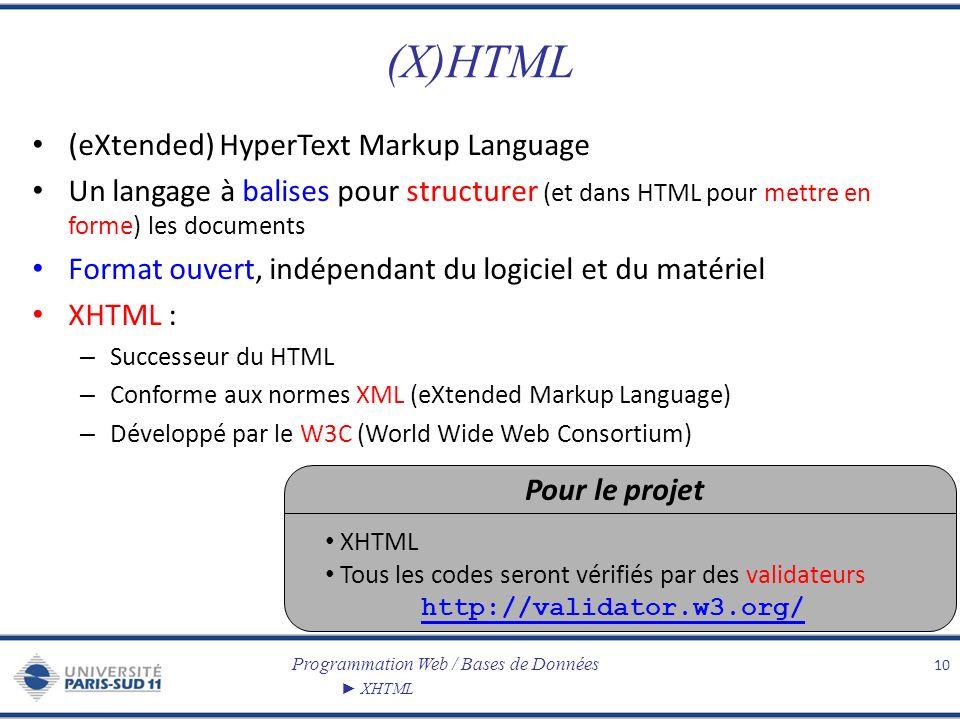 Programmation Web / Bases de Données XHTML (X)HTML (eXtended) HyperText Markup Language Un langage à balises pour structurer (et dans HTML pour mettre