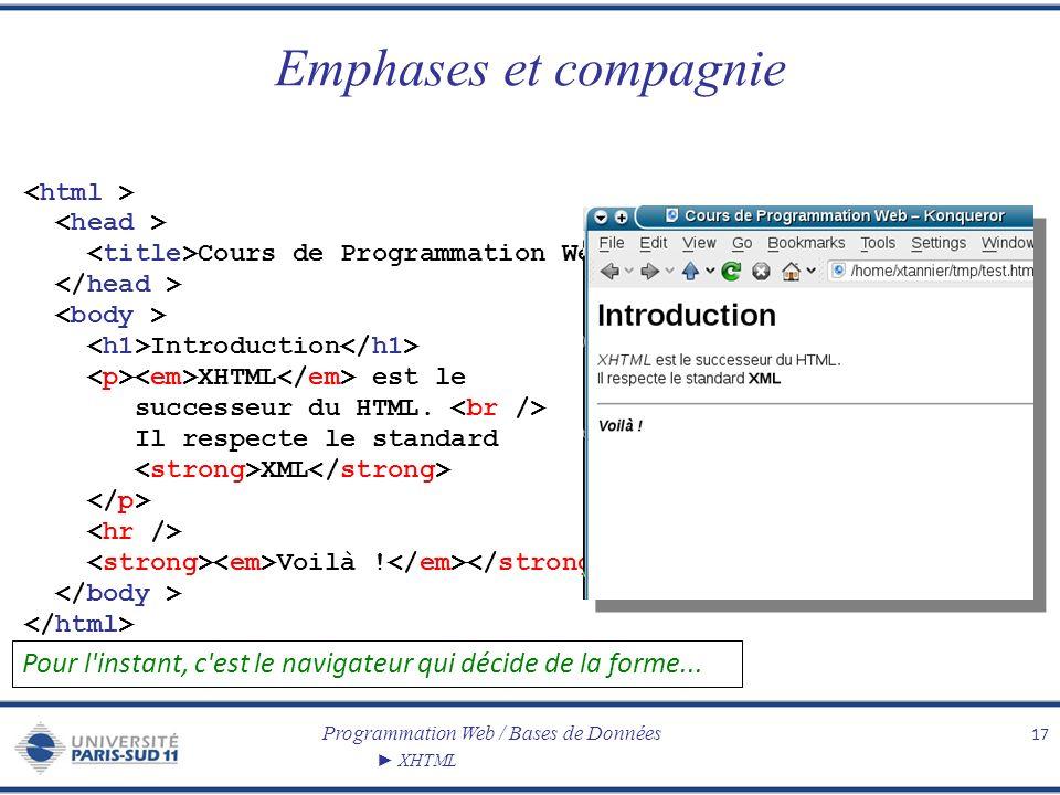 Programmation Web / Bases de Données XHTML Emphases et compagnie 17 Cours de Programmation Web Introduction XHTML est le successeur du HTML. Il respec