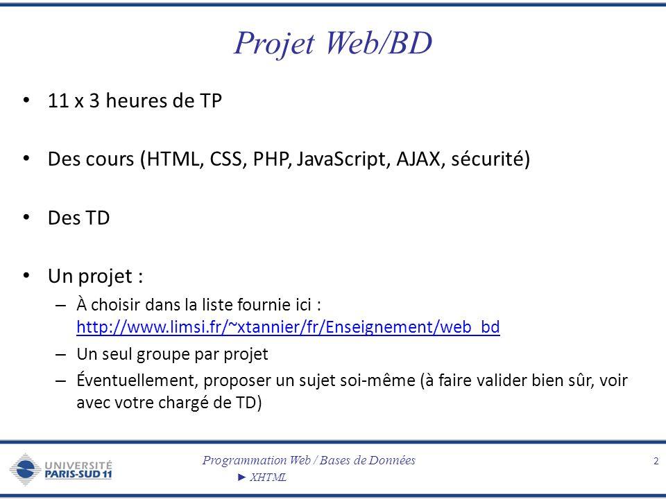 Programmation Web / Bases de Données XHTML Projet Web/BD 11 x 3 heures de TP Des cours (HTML, CSS, PHP, JavaScript, AJAX, sécurité) Des TD Un projet :