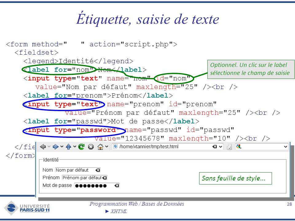 Programmation Web / Bases de Données XHTML Étiquette, saisie de texte 28 Identité Nom Prénom Mot de passe Sans feuille de style... Optionnel. Un clic