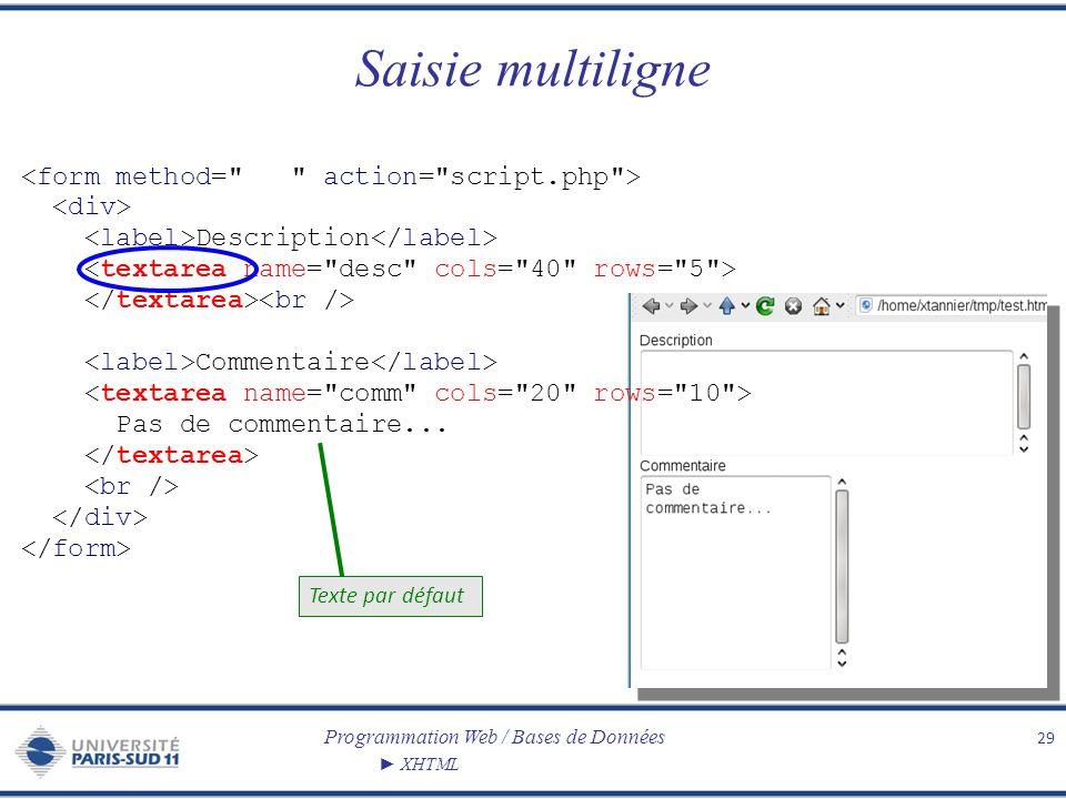 Programmation Web / Bases de Données XHTML Saisie multiligne 29 Description Commentaire Pas de commentaire... Texte par défaut