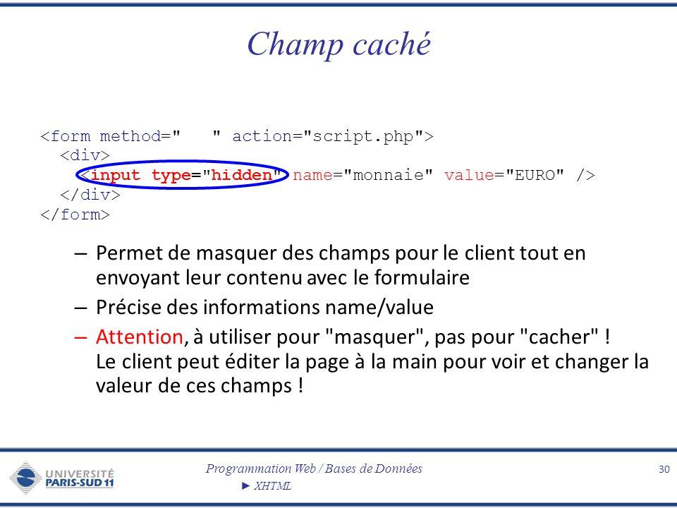 Programmation Web / Bases de Données XHTML Champ caché 30 – Permet de masquer des champs pour le client tout en envoyant leur contenu avec le formulai