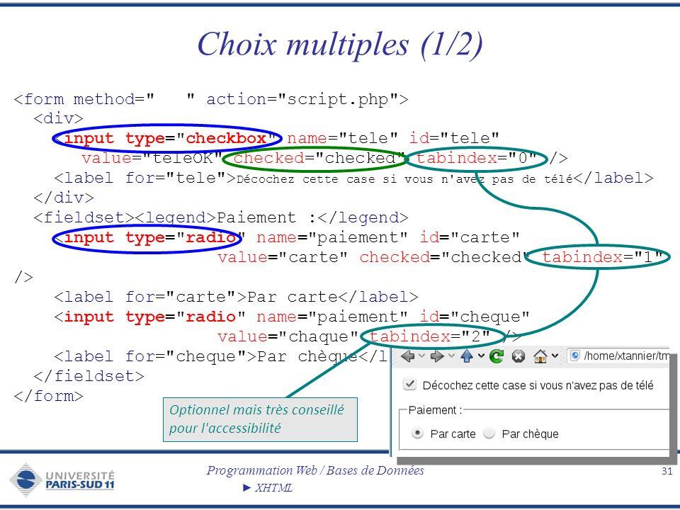 Programmation Web / Bases de Données XHTML Choix multiples (1/2) 31 Décochez cette case si vous n'avez pas de télé Paiement : Par carte Par chèque Opt