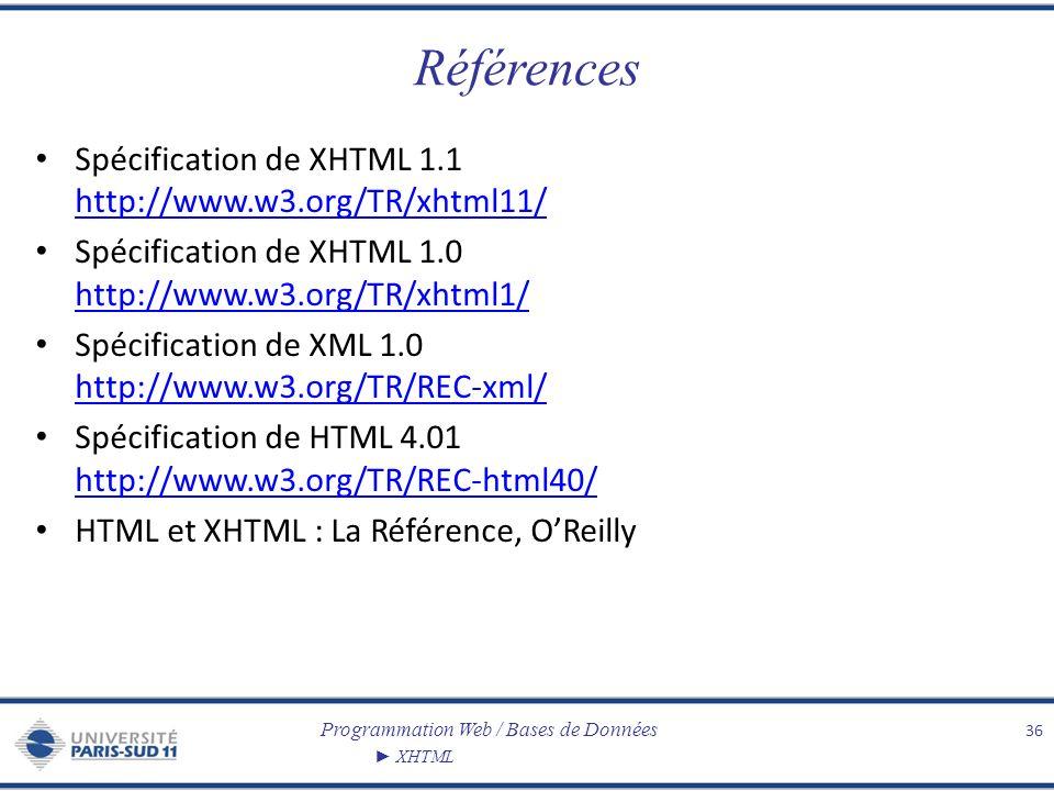 Programmation Web / Bases de Données XHTML Références Spécification de XHTML 1.1 http://www.w3.org/TR/xhtml11/ http://www.w3.org/TR/xhtml11/ Spécifica