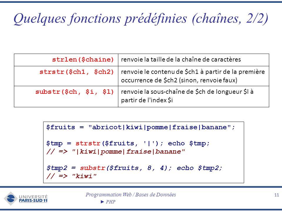 Programmation Web / Bases de Données PHP Quelques fonctions prédéfinies (chaînes, 2/2) 11 strlen($chaine) renvoie la taille de la chaîne de caractères