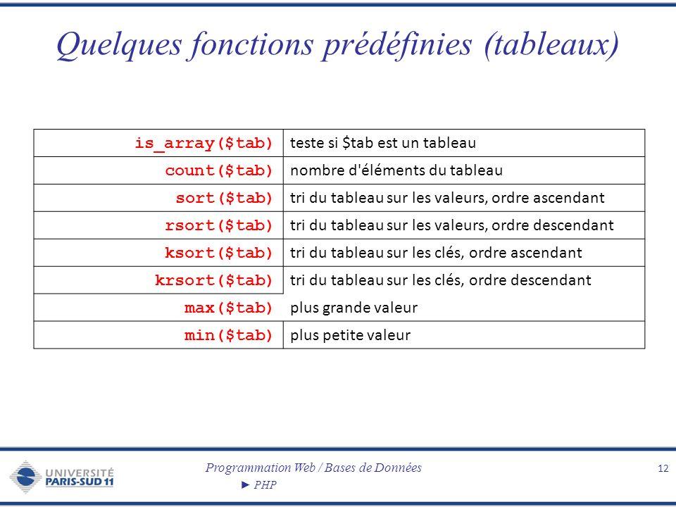 Programmation Web / Bases de Données PHP Quelques fonctions prédéfinies (tableaux) 12 is_array($tab) teste si $tab est un tableau count($tab) nombre d