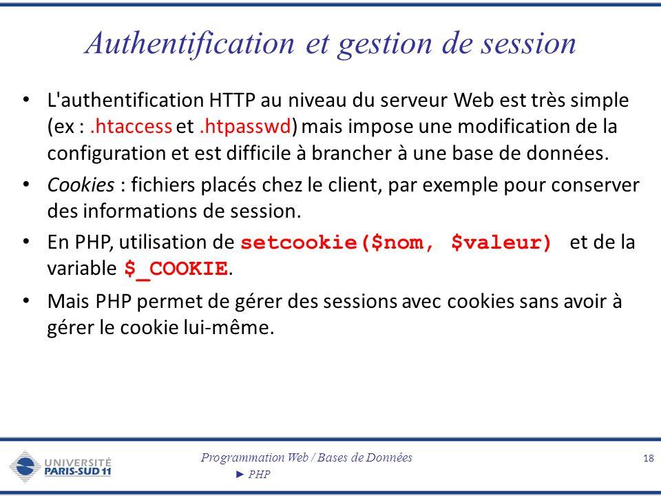 Programmation Web / Bases de Données PHP Authentification et gestion de session L'authentification HTTP au niveau du serveur Web est très simple (ex :