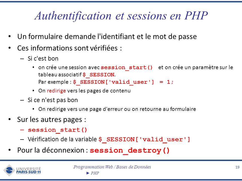 Programmation Web / Bases de Données PHP Authentification et sessions en PHP Un formulaire demande l'identifiant et le mot de passe Ces informations s