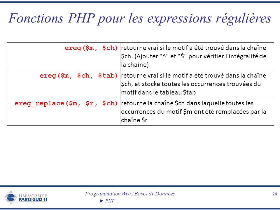 Programmation Web / Bases de Données PHP Fonctions PHP pour les expressions régulières 24 ereg($m, $ch) retourne vrai si le motif a été trouvé dans la