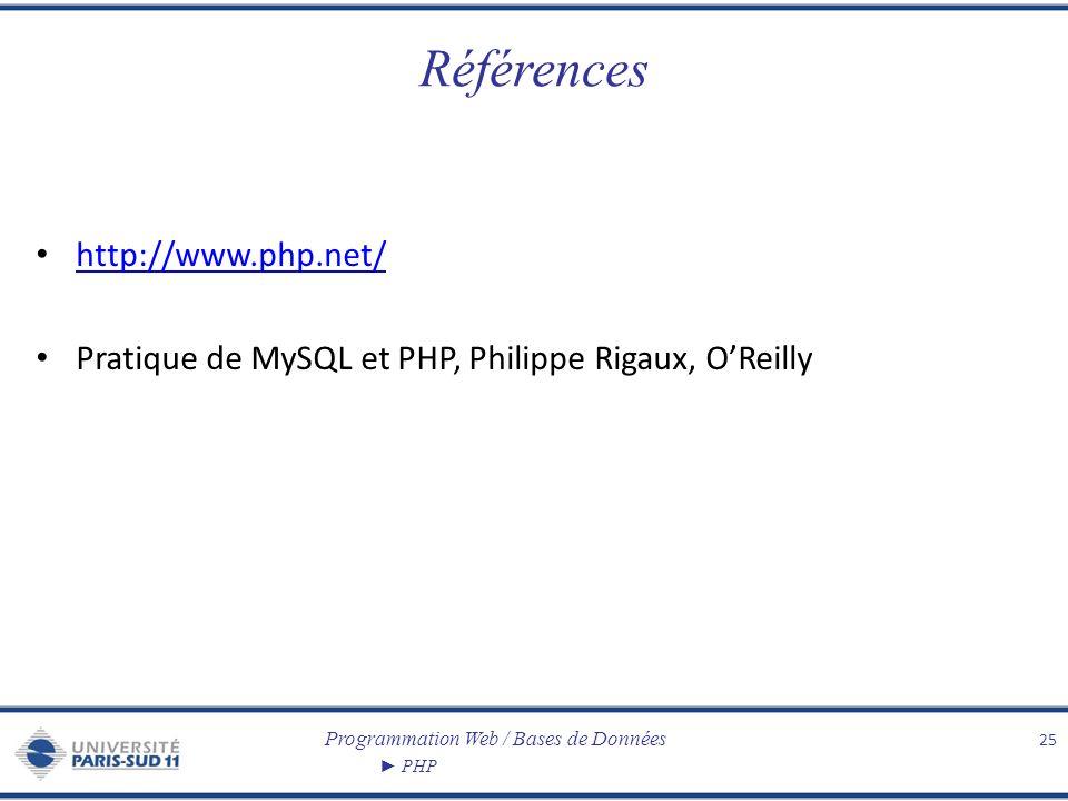 Programmation Web / Bases de Données PHP Références http://www.php.net/ Pratique de MySQL et PHP, Philippe Rigaux, OReilly 25