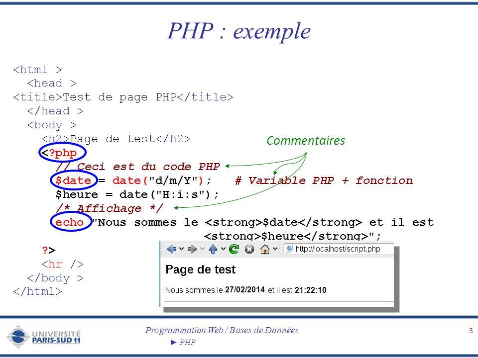 Programmation Web / Bases de Données PHP PHP : exemple 3 Test de page PHP Page de test <?php // Ceci est du code PHP $date = date(