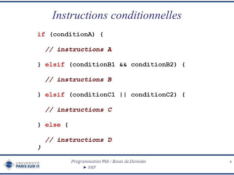 Programmation Web / Bases de Données PHP Boucles 5 for ($i=0 ; $i < $n ; $i++) { // instructions } while (condition) { // instructions } do { // instructions } while (condition)