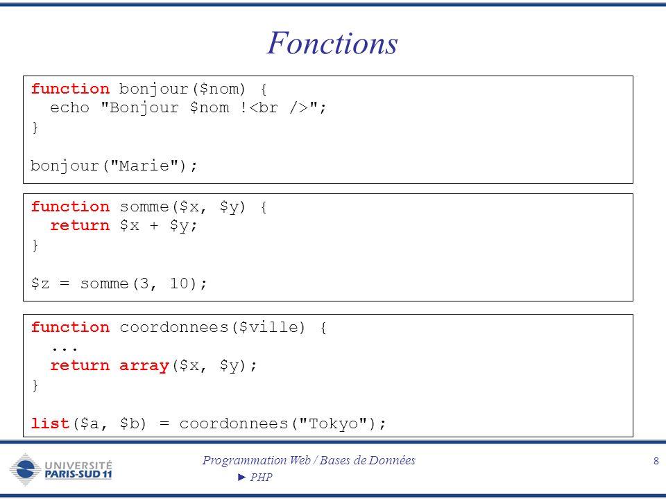 Programmation Web / Bases de Données PHP Quelques fonctions prédéfinies 9 empty($v) teste si $v est définie est a une valeur non nulle isset($v) teste si $v est définie abs($v) valeur absolue ceil($v) entier immédiatement supérieur floor($v) entier immédiatement inférieur round($f) arrondi max($v1, $v2,..., $vn) plus grande valeur min($v1, $v2,..., $vn) plus petite valeur rand() valeur aléatoire date($format) renvoie la date courante formatée.