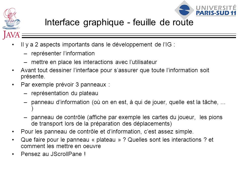 Interface graphique - feuille de route Il y a 2 aspects importants dans le développement de lIG : –représenter linformation –mettre en place les inter