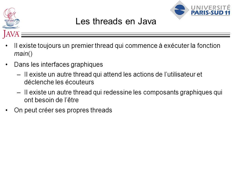 Les threads en Java Il existe toujours un premier thread qui commence à exécuter la fonction main() Dans les interfaces graphiques –Il existe un autre