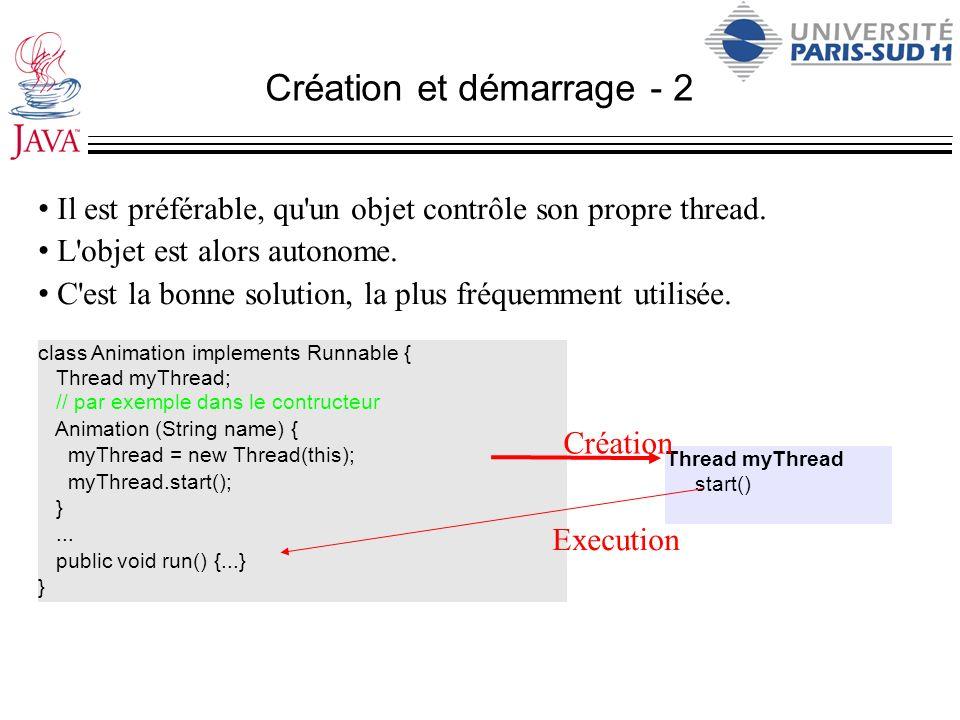 Création et démarrage - 2 Il est préférable, qu'un objet contrôle son propre thread. L'objet est alors autonome. C'est la bonne solution, la plus fréq