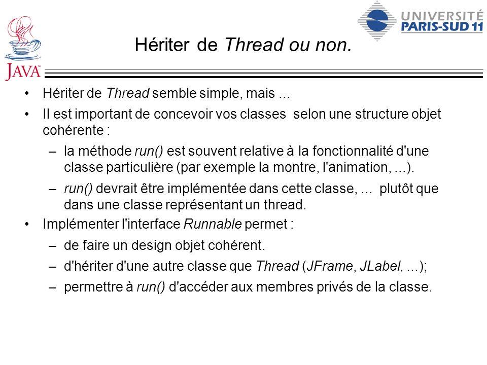 Hériter de Thread ou non. Hériter de Thread semble simple, mais... Il est important de concevoir vos classes selon une structure objet cohérente : –la