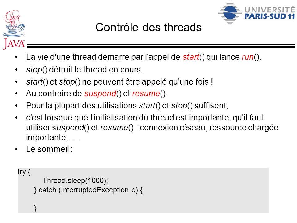 Contrôle des threads La vie d'une thread démarre par l'appel de start() qui lance run(). stop() détruit le thread en cours. start() et stop() ne peuve