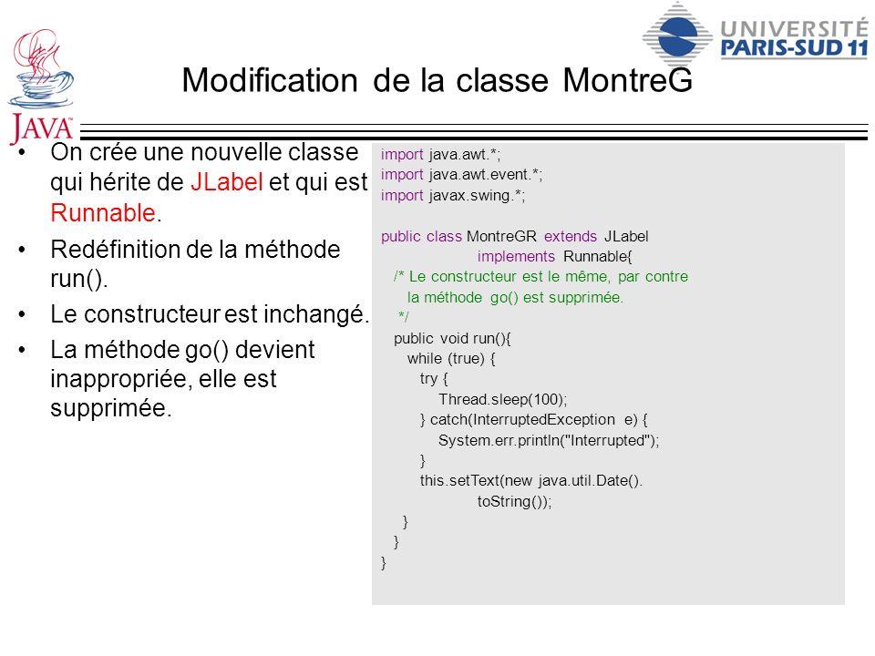 Modification de la classe MontreG On crée une nouvelle classe qui hérite de JLabel et qui est Runnable. Redéfinition de la méthode run(). Le construct