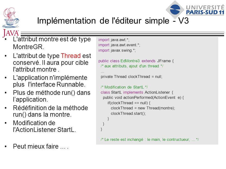 Implémentation de l'éditeur simple - V3 L'attribut montre est de type MontreGR. L'attribut de type Thread est conservé. Il aura pour cible l'attribut