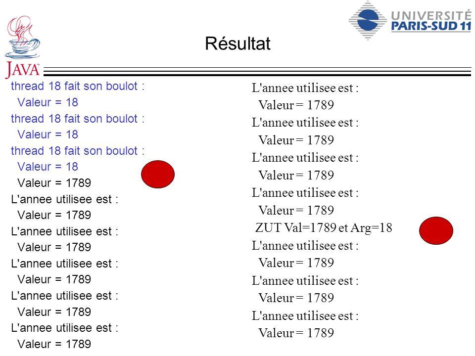 Résultat thread 18 fait son boulot : Valeur = 18 thread 18 fait son boulot : Valeur = 18 thread 18 fait son boulot : Valeur = 18 Valeur = 1789 L'annee