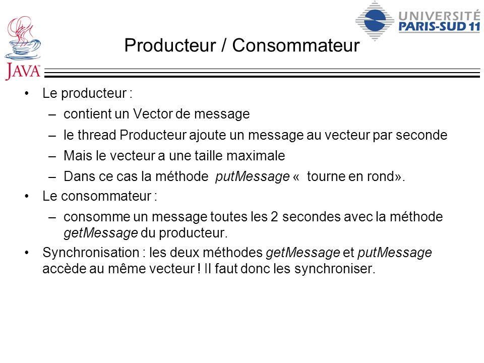 Producteur / Consommateur Le producteur : –contient un Vector de message –le thread Producteur ajoute un message au vecteur par seconde –Mais le vecte