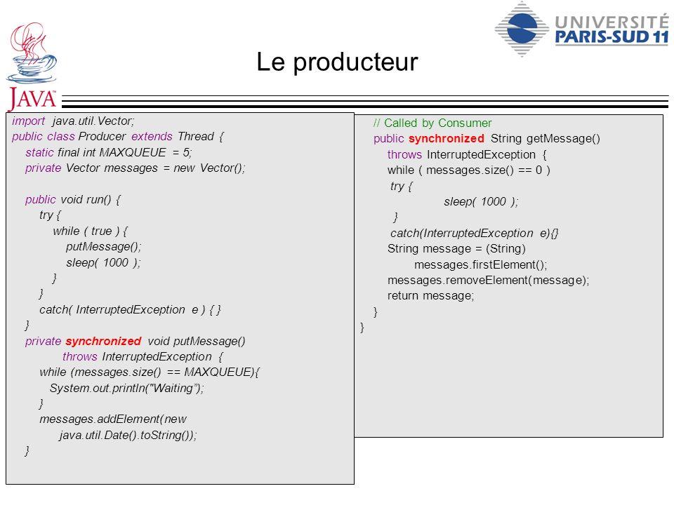 Le producteur import java.util.Vector; public class Producer extends Thread { static final int MAXQUEUE = 5; private Vector messages = new Vector(); p