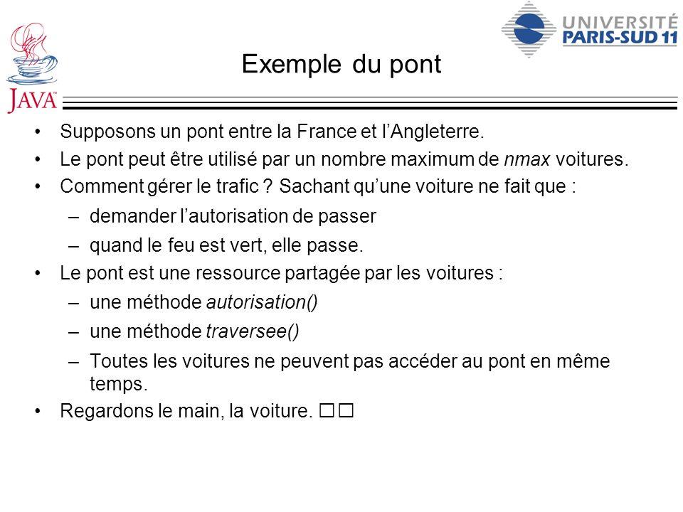 Exemple du pont Supposons un pont entre la France et lAngleterre. Le pont peut être utilisé par un nombre maximum de nmax voitures. Comment gérer le t