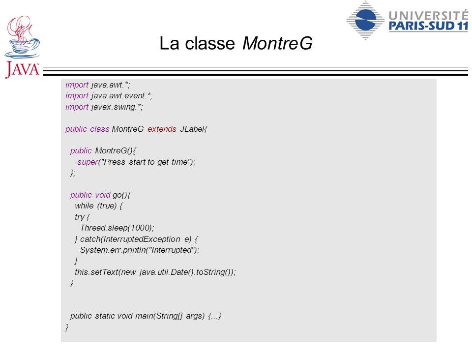 La classe de l application (résumé) import java.awt.*; import java.awt.event.*; import javax.swing.*; public class EdMontreBof extends JFrame { /* Les attributs sont les composants graphiques */ private MontreG montre; private JTextArea editor; private JButton startB; private JButton printB; private JButton saveB; /* Définition des ActionListener en classes internes */ class StartL implements ActionListener {...