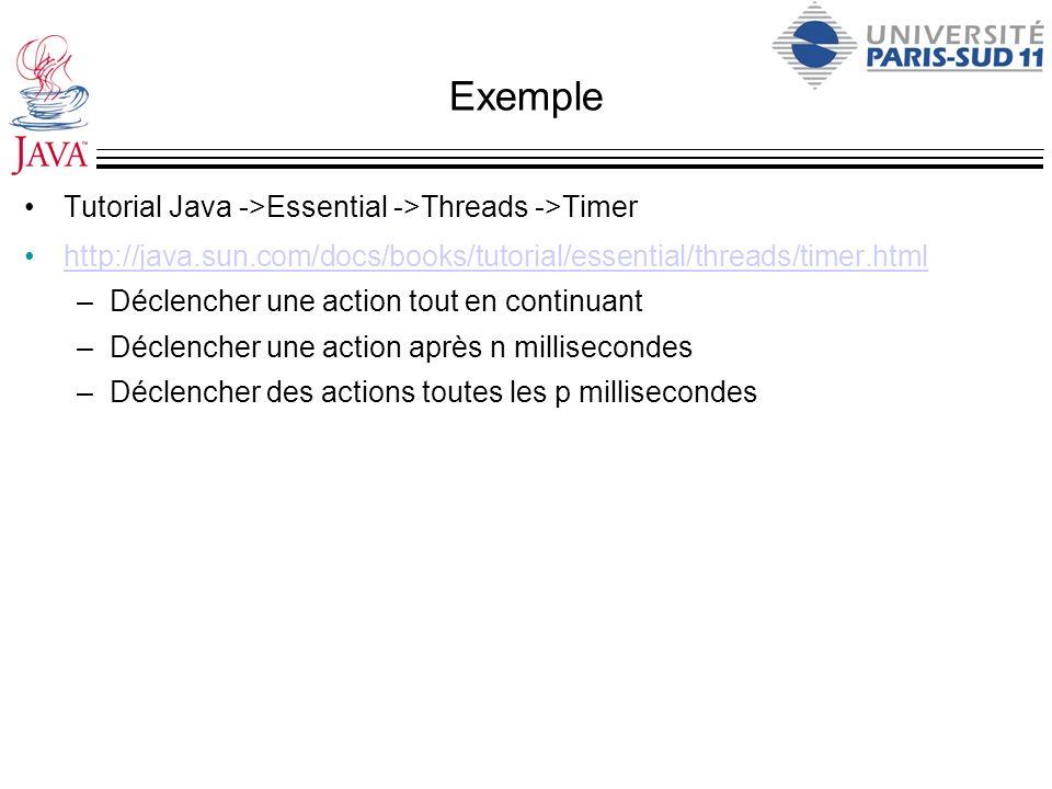 Exemple Tutorial Java ->Essential ->Threads ->Timer http://java.sun.com/docs/books/tutorial/essential/threads/timer.html –Déclencher une action tout e