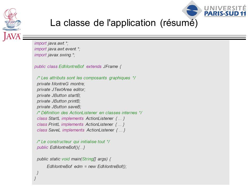 La classe de l application : le constructeur public EdMontreBof(){ super( Pourquoi ? ); this.setDefaultCloseOperation (JFrame.EXIT_ON_CLOSE ) ; this.setSize (250,200) ; /* Construction des composants*/ montre = new MontreG(); startB = new JButton( Start date );// mettre en route la montre printB = new JButton( Print date );// Recopier l heure dans l éditeur saveB = new JButton( Save ); startB.addActionListener(new StartL()); printB.addActionListener(new PrintL()); //...