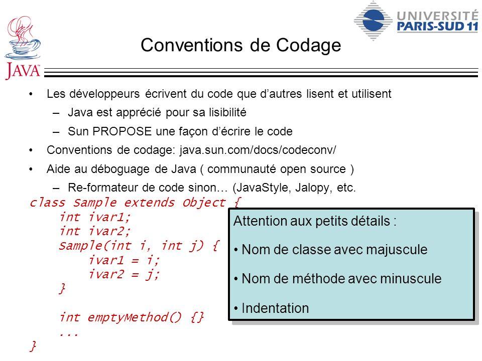Conventions de Codage Les développeurs écrivent du code que dautres lisent et utilisent –Java est apprécié pour sa lisibilité –Sun PROPOSE une façon d