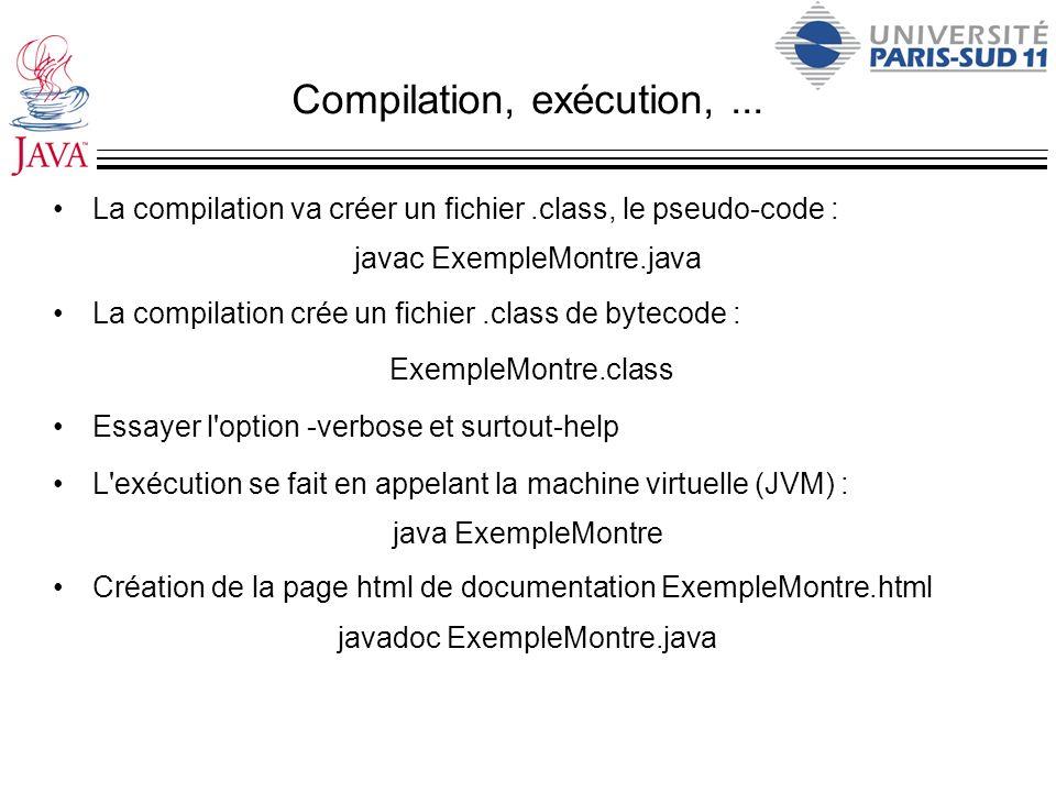 Compilation, exécution,... La compilation va créer un fichier.class, le pseudo-code : javac ExempleMontre.java La compilation crée un fichier.class de