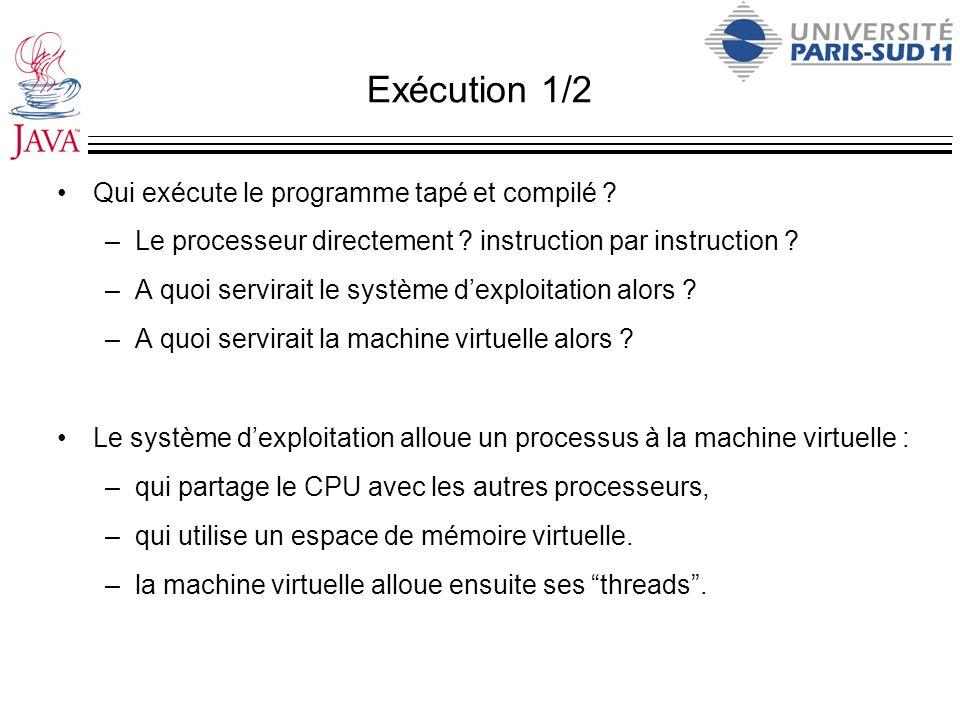 Exécution 1/2 Qui exécute le programme tapé et compilé ? –Le processeur directement ? instruction par instruction ? –A quoi servirait le système dexpl