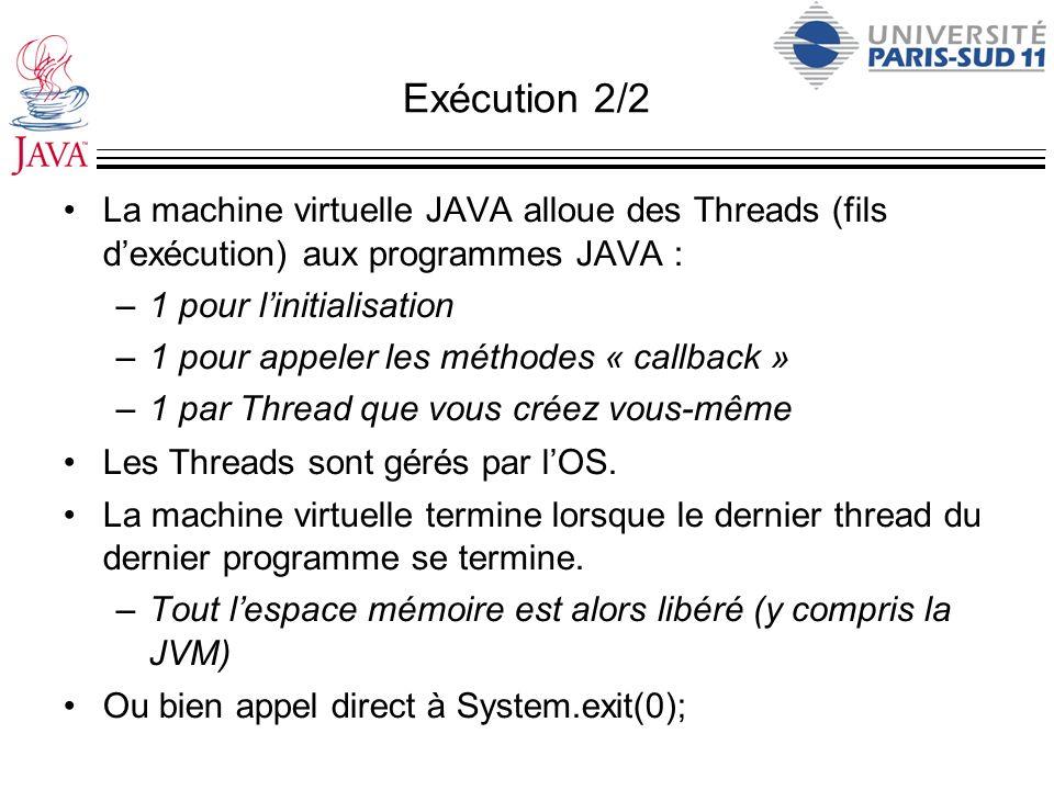 Exécution 2/2 La machine virtuelle JAVA alloue des Threads (fils dexécution) aux programmes JAVA : –1 pour linitialisation –1 pour appeler les méthode