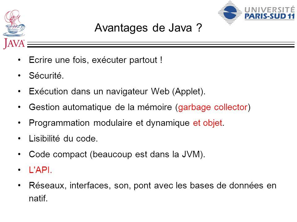 Avantages de Java ? Ecrire une fois, exécuter partout ! Sécurité. Exécution dans un navigateur Web (Applet). Gestion automatique de la mémoire (garbag