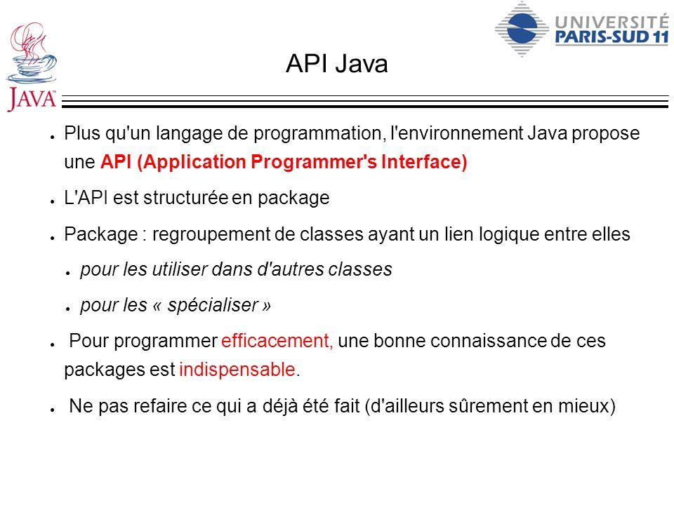 API Java Plus qu'un langage de programmation, l'environnement Java propose une API (Application Programmer's Interface) L'API est structurée en packag